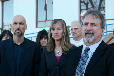This is one of my favorite photos. Center is a Coquille track coach accused of having sex with one of her underaged athletes. To her right is her clearly perturbed husband, lawyer on the other side.