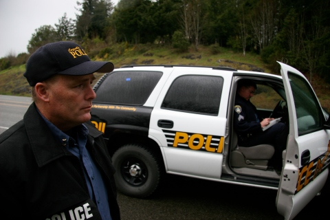 The Coquille police chief, braving a blustery day on the coast to backup an officer in a very brief high-speed chase.